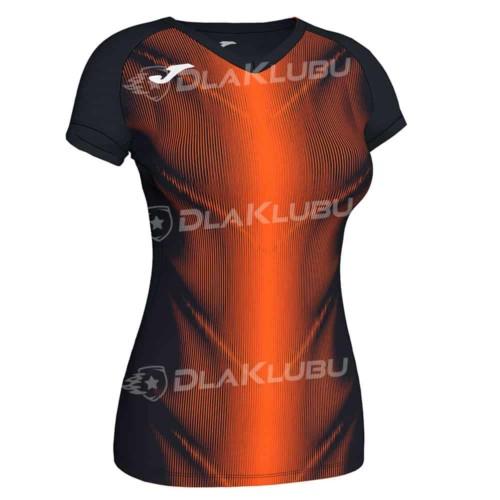 Koszulka biegowa damska JOMA Olimpia czarno pomarańczo